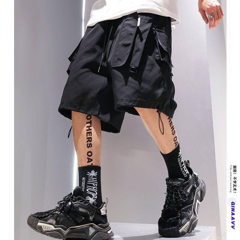 Summer Thin Cargo Shorts Multi-Pocket Hip Hop Casual Pants Fashion Clothing Kpop Korean Clothes Loose Shorts For Men Streetwear | akolzol