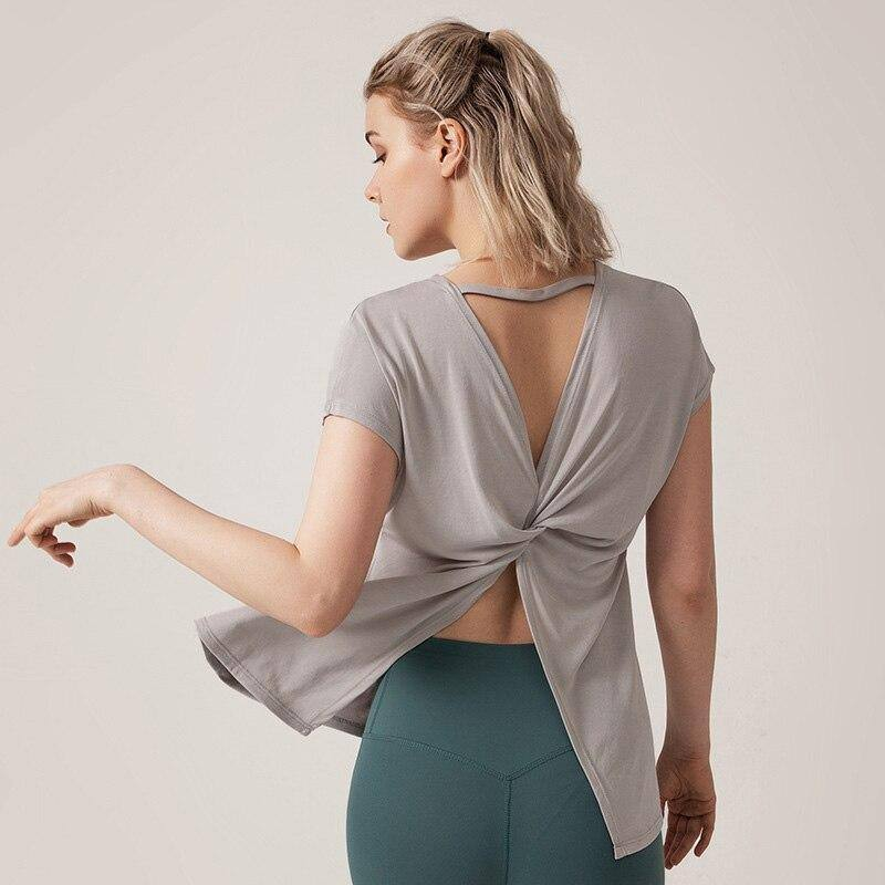 Crop Open Back Top Sport Bra Femme Yoga Gym T Shirt Women Shirts Sports Running Tshirt Workout Fitness Clothing Womens Tank Tops | akolzol