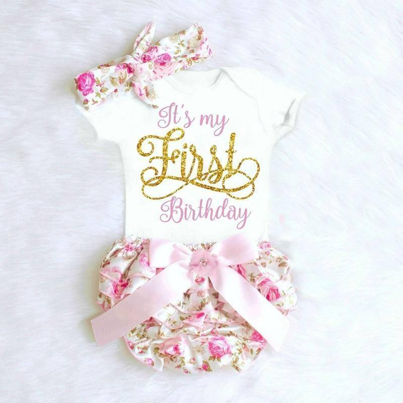 1 Year 1st Baby Girls Birthday Dress Tutu Dress Headband | akolzol