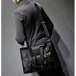 New Casual Men's Briefcase Crossbody Retro Business Men's Shoulder Bag Business Large Capacity Handbags Black Bag Sac a Main (Black) | akolzol
