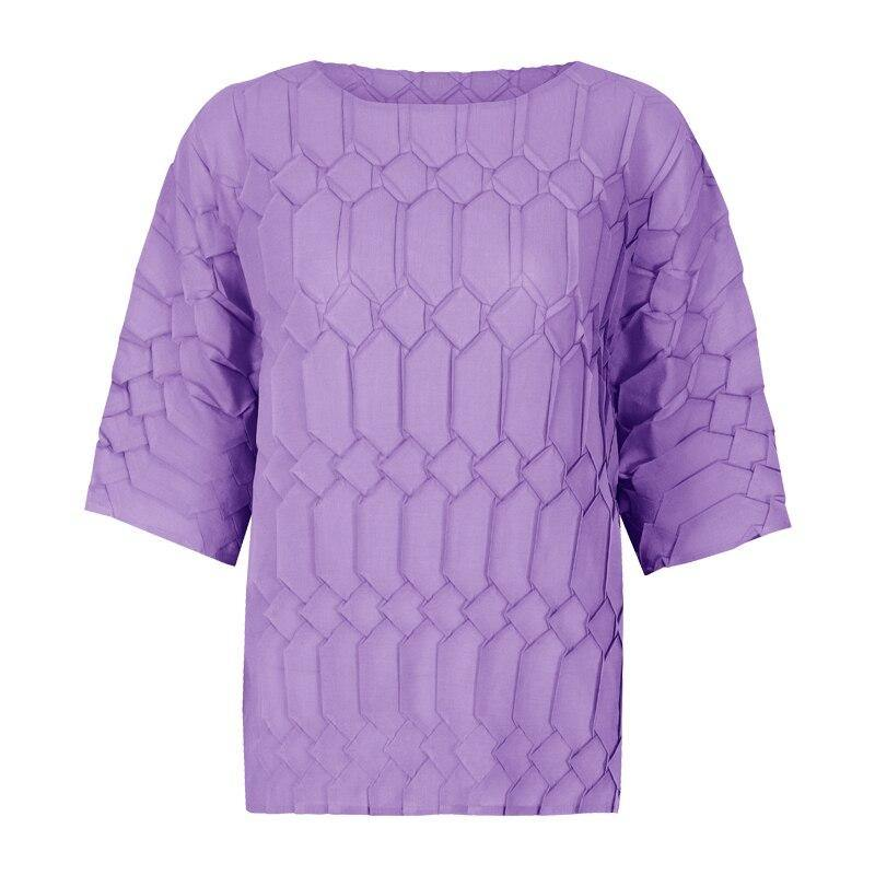 Women t-shirt 2020 loose plus size aesthetic clothing Masonry pleating bottoming T-shirt female Miyake pleating omighty top 5262 | akolzol