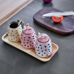 Ceramic Spice Jars Set Seasoning Pot With Spoon And Lid Spices Organizer Kitchen Salt &pepper  Container | akolzol