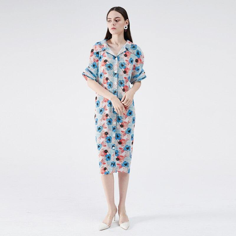 summer dress 2020 Cardigan Button Flare Print Dress plus size women Lapel Flare Sleeve Pleated Korea beach Vintage dress (Photo Color) | akolzol