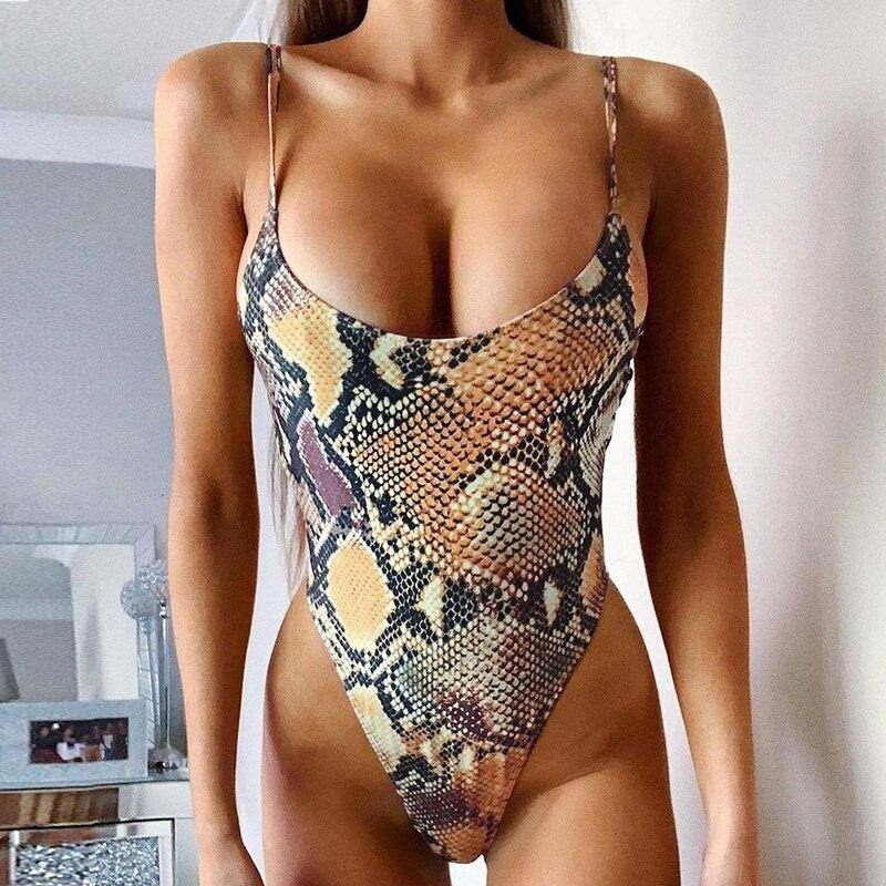 Snake print women's swimming suit female High cut bikini 2020 Sexy one piece bodysuit Plus size swimwear women monokini | akolzol
