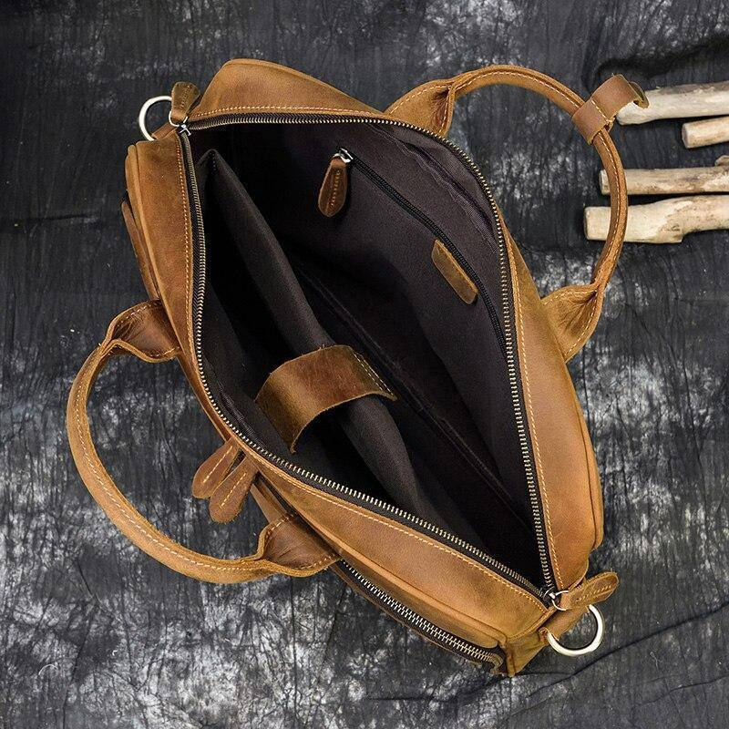 "Crazy Horse Leather Men Briefcase Genuine Leather Laptop Bag 15.6"" PC Doctor Lawyer Computer Bag Cowhide Male Leather Men Bags 