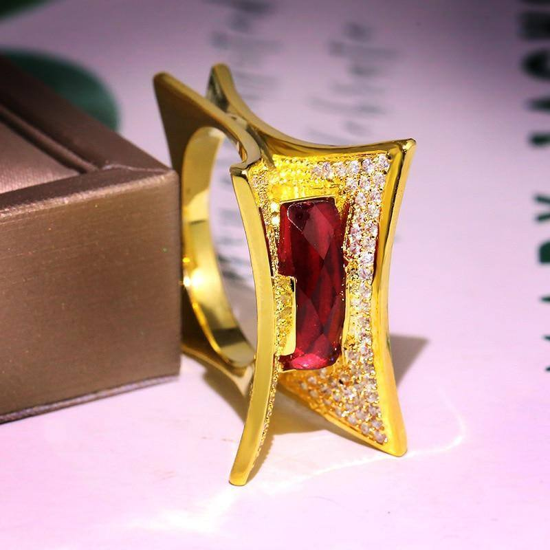 14K Yellow Gold Ring Natural Ruby Gemstone Jewelry for Women Irregular Invisible Setting Wedding Bands Luxury Jewelry Ring Box | 14, Bands, Box, for, Gemstone, Gold, Invisible, Irregular, Jewelry, Luxury, Natural, Ring, Ruby, Setting, Wedding, Women, Yellow | akolzol