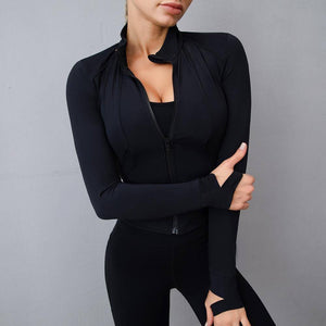 Women Athletic Sport Shirts Slim Fit Long Sleeved Fitness Coat Yoga Crop Tops With Thumb Holes Gym Jacket Workout Sweatshirts | akolzol