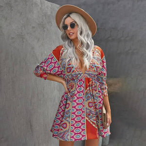 New Summer Woman Clothes V-neck Floral Dress Long Sleeve 3/4 Sleeve Printing Dresses Fashion Sundress 2021 Women's Clothing | 2021, 34, Clothes, Clothing, Dress, Dresses, Fashion, Floral, Long, New, Printing, Sleeve, Summer, Sundress, Vneck, Woman, Womens | akolzol