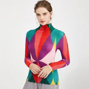 The latest Creative Color Graphic Print Shirt women 2020 Spring Stretch Japanese Pleated Turtleneck Top T-Shirt long sleeve 5206 | akolzol