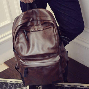 Vintage Leather Backpack Men Travel Bag Waterproof Simple Style School Bags for Teenage Casual Fashion Pack Anti-Theft Bagpack | akolzol
