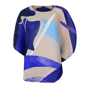 fall 2020 women trendy casual Ocean printing crewneck top bat sleeve top Korean style Three Quarter sleeve T-shirt plus size | akolzol