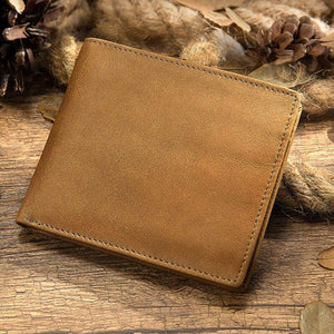 Casual Simple Design Men Natural Leather Slim Wallet Cowhide Bifold Wallet RFID Blocking Wallets Ultra-thin Compact Wallet Purse | akolzol