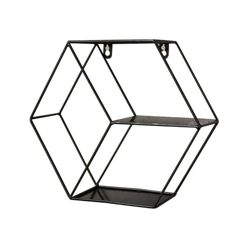 Nordic Metal Decorative Shelf Round Hexagon Storage Holder Shelves Home Wall Decoration Potted Ornament Stand Rack | akolzol