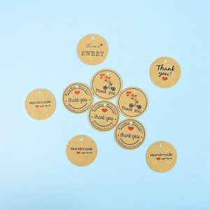 100pcs/lot Vintage Kraft Paper Thank You Round Label Handmade Gift Tag Wedding Birthday Party Package Hang Ornament | 100, Birthday, Gift, Handmade, Hang, Kraft, Label, Ornament, Package, Paper, Party, pcslot, Round, Tag, Thank, Vintage, Wedding, You | akolzol