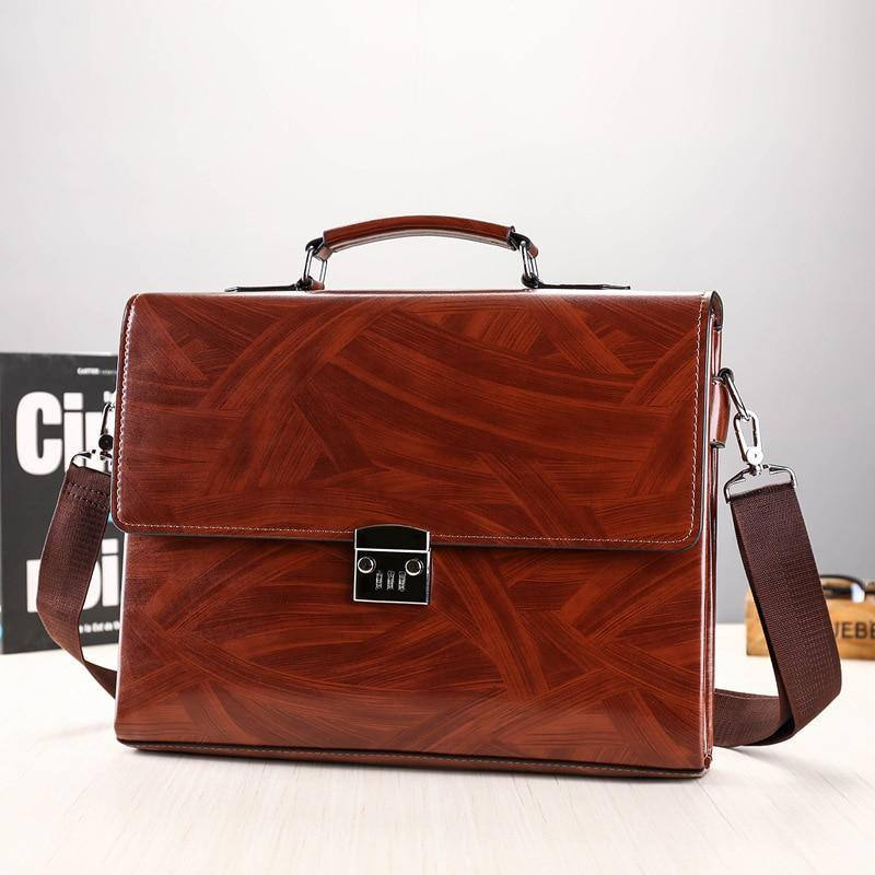 Fashion Male Business Shoulder Briefcase Bring Password Lock Computer Leather 15