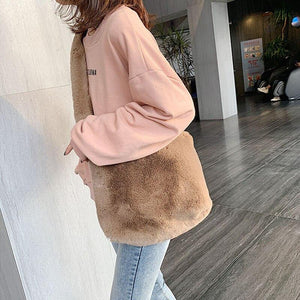 Simple Plush Crossbody Bags for Women Winter Warm Fashion Trend Design Shoulder Bag Branded Wild Solid Color Female Handbags | akolzol