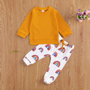 Newborn Infant Baby Girl Boy Clothing Autumn Spring Knitted Sweater Tops Rainbow Pants Outfits Baby Clothes Set | akolzol
