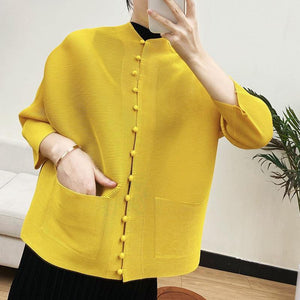 Pleated Chinese style button shirt jacket 2020 spring autumn cardigan Tunics women vintage top loose pink blouses | akolzol