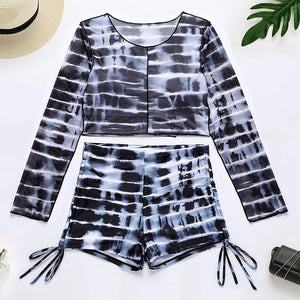 High waist short pants swimsuit Sport tie dye bikini Retro long sleeve swimwear women Drawstring bathing suit Beach wear | akolzol