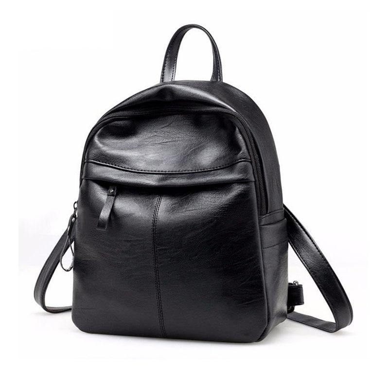 Fashion Women Backpack School Backpacks Pu Leather Women's Backpack Zipper School Bag Women Large Capacity Female's Travel Bag (Black) | akolzol