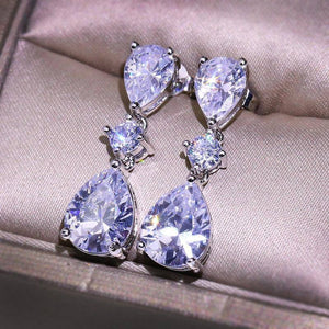 2 Carats White Diamond Silver color 925 Jewelry Earring for Women S925 Sterling Silver Bizuteria Aretes De Mujer Drop Earrings (White) | akolzol