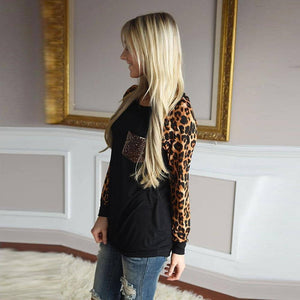 Autumn Spring Woman Tshirts Solid Color Leopard Stitching Long Sleeve Oversized Shirt Loose Top Women's Tops Fall Clothing 2020 | 2020, Autumn, Clothing, Color, Fall, Leopard, Long, Loose, Oversized, Shirt, Sleeve, Solid, Spring, Stitching, Top, Tops, Tshirts, Woman, Womens | akolzol