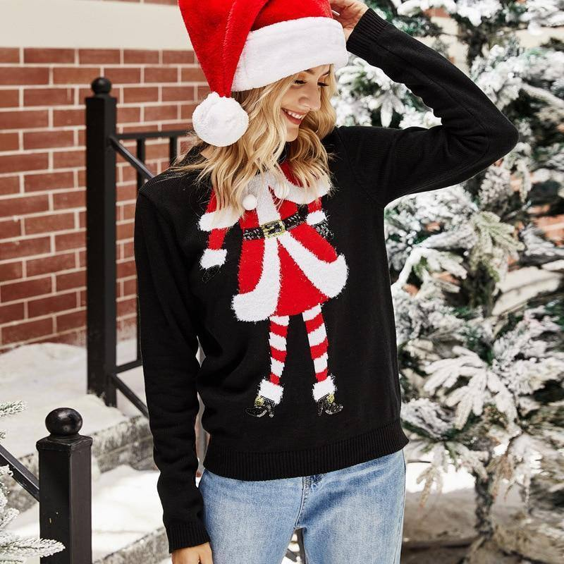 Ugly Christmas Jumper Sweater Autumn Winter New Santa Claus Embroidery Knitted Pullover Sweaters Tops For Women 2020 Fashion | akolzol