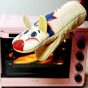 Ovenwant Glove Pig Fish Print Oven Mitts Long Cotton Baking Insulation Gloves Microwave Heat Resistant Kitchen Non-slip Mitten | akolzol