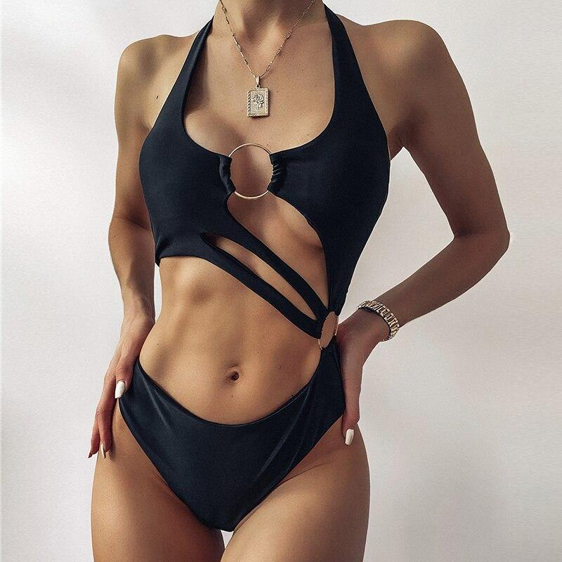 Vintage hollow out swimsuit Sexy shiny halter swimsuit High cut swimwear women Sport ring bathing suit Solid monokini New | akolzol