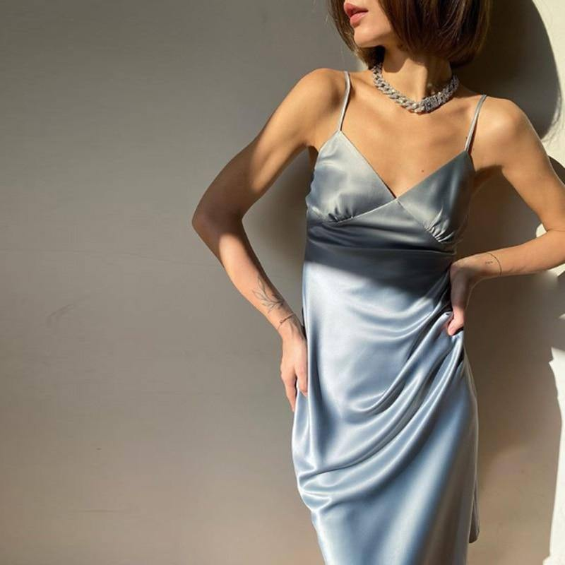 2020 Women Satin Deep V Neck Sexy Dress Solid Straight Pajamas Party Dress Elegant Female Summer Spaghetti Strap Dress Casual | akolzol