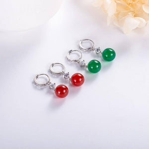 Natural Ruby Jade & Emerald Gemstone 925 Sterling Silver color Bohemia Earrings for Women Silver 925 Jewelry Jade Earring Ball | akolzol