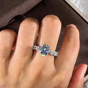 AAA Natural Zircon with Monid Diamond Silver 925 Jewelry Ring for Women Fine Anillos Bizuteria 925 Sterling Silver Diamond Rings | akolzol