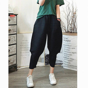 2020 autumn winter Korean trousers pleated wide leg harem pants plus size women casual Ankle-Length lantern flare pants | akolzol