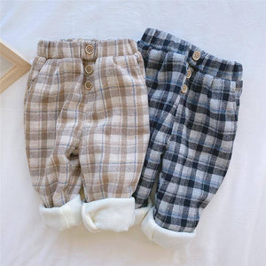 2020 New Winter boys and girls plus velvet plaid casual trousers korean style fashion loose all-match harem pants Toddler Kids | akolzol