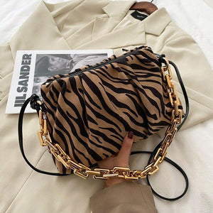 Stripe Chain Design Suede Crossbody Bags for Women Winter Trend Zebra Pattern Shoulder Bag Branded Female Armpit Handbags | akolzol