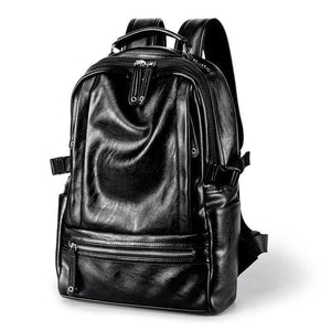 Brand Design Men Backpack Leather School Backpack Big Bag Fashion Waterproof Travel Bag Casual Leather Book Bag Male | akolzol