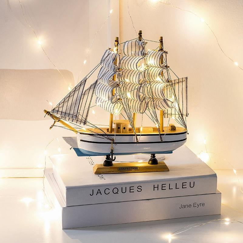 Sailboat Model with Light Wooden Creative Decor Art Crafts Abstract Sculpture Home Office Desktop Decoration Ornament Gift | akolzol
