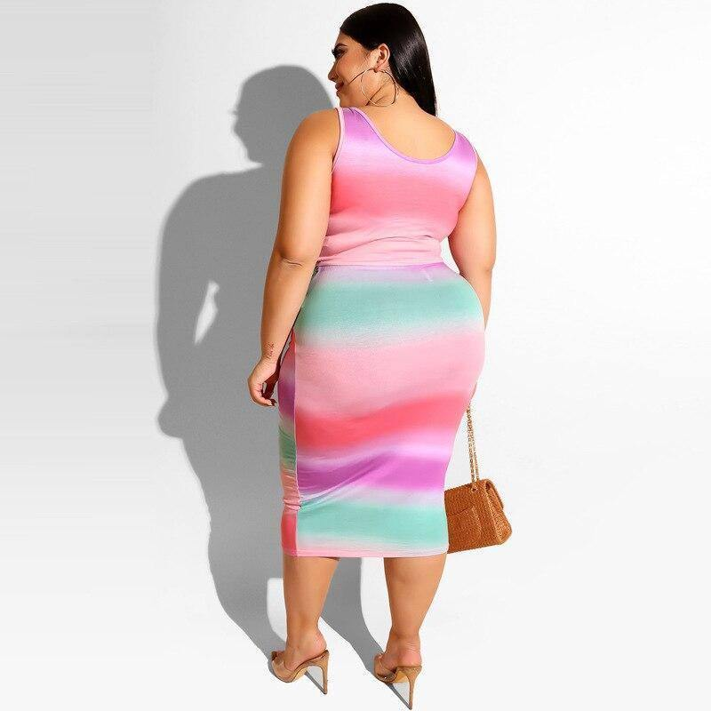 2020 Print Oversized Skirt Set Women Summer Sexy Two Piece Set Striped Plus Size Tracksuits Ladies Tight Skirt and Top 5XL | 2020, and, Ladies, Oversized, Piece, Plus, Print, Set, Sexy, Size, Skirt, Striped, Summer, Tight, Top, Tracksuits, Two, Women, XL | akolzol