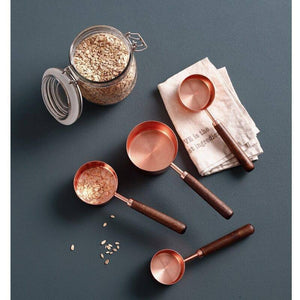 4/8 pcs Copper Plated Measuring Cups And Measuring Spoon Scoop Wooden Handle Kitchen Measuring Tool Drop Shipping | akolzol