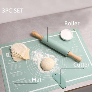 Silicone Pastry Mat 3 Pieces Pastry Mat with Measurement  Rolling Pin Cutter Counter Mat Rolling Baking Mat Dough Cookies Mat | akolzol