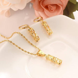 gold Necklace Earring Set Women Party Gift Dubai pillar Jewelry Sets wedding  bridal party  gift DIY charms  girls kid Jewelry | akolzol