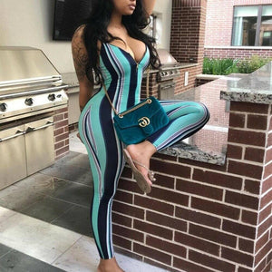 Sexy Women Sleeveless Striped Jumpsuit Romper Casual Party Clubwear Outfits Ladies Striped Jumpsuits Female Clothing | akolzol