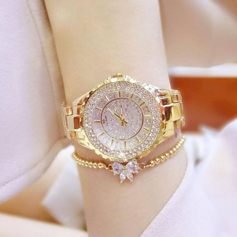 2018 gold fully diamond watch women fashion top brand luxury ladies watch silver women watches quartz wrist watches for women | akolzol