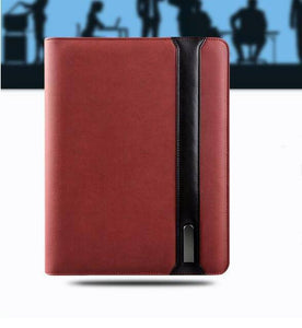 Business travel A4 zipped notebook padfolio with 5000 mAh wiereless charging power battery inside mobile bag holder writing pad | akolzol