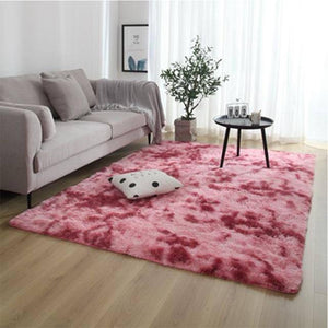 Nordic fashion fluffy non-slip mixed dyed carpet Living room / bedroom center carpet black gray pink blue  large size hair Rugs | akolzol