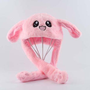 Rabbit Hat Moving Ears Cute Cartoon Toy Hat Kawaii Funny Hat Birthday Gift Bunny Plush Cap Winter Hat For Kids Adult Girlfriend | akolzol