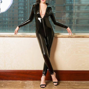 Sexy Hot Women Faux Leather Catsuit PVC Latex Bodysuit Front Zipper Open Crotch Jumpsuits Stretch bodystocking Erotic costumes |  | akolzol