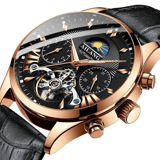 AILANG top luxury brand men's mechanical watch moon phase multi-function tourbillon watch diving clock men's business style | akolzol