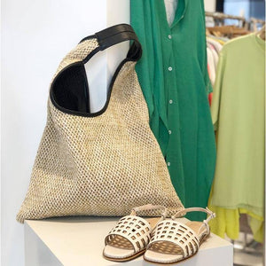 Casual rattan buckets bag for women bohemian wicker woven shoulder bags lady handbag large capacity totes summer beach big purse | akolzol