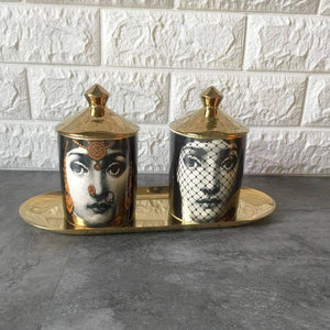 Candle Holder Diy Handmade Candles Jar Retro Lina Face Storage Bin Ceramic Caft Home Decoration Jewerlly Storage Box |  | akolzol